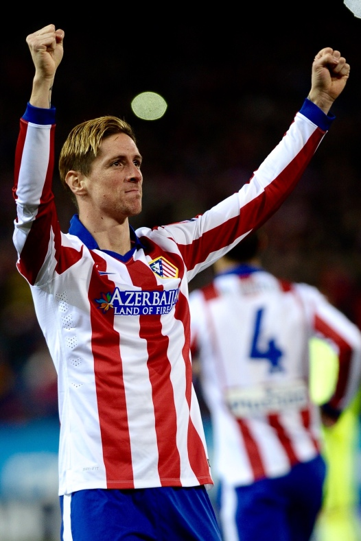 Atletico de Madrid Forward, Fernando Torres - TORRES, number 19 celebrates after scoring a goal (1,0). Round cuartos of the COPA DEL REY league soccer match between Atletico de Madrid - FC Barcelona at the Vicente Calderon estadium Madrid - Spain by January 28 2015.
